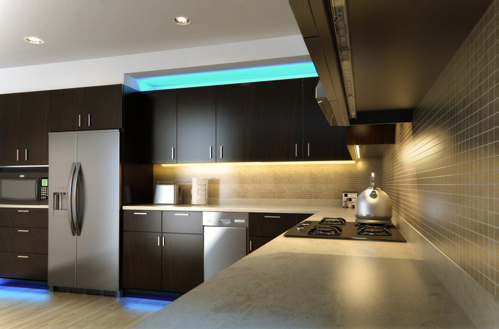 LED Light Bars Installed In A Kitchen