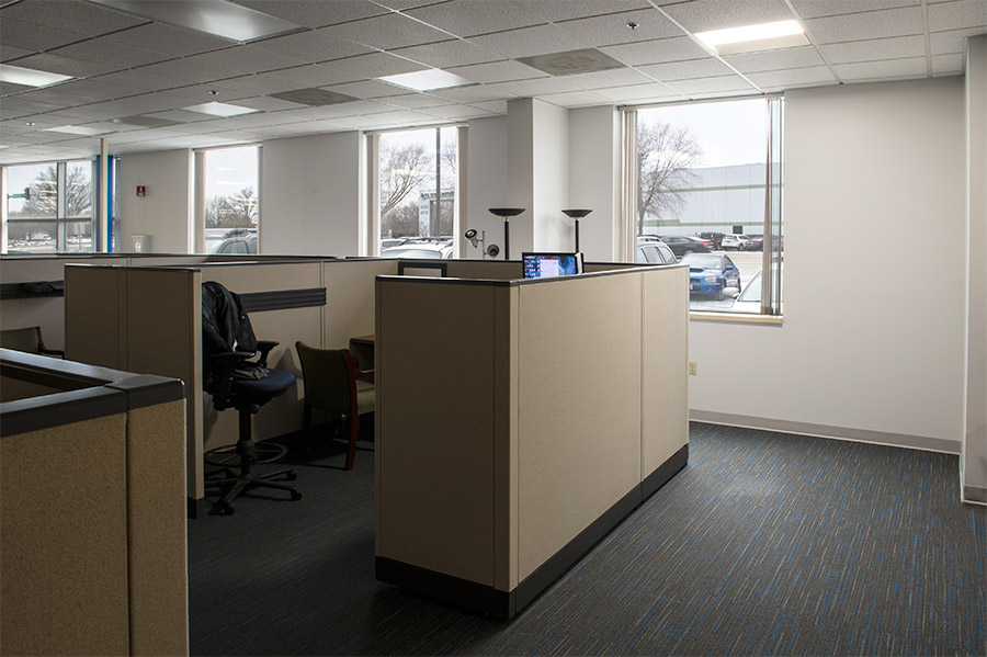 recessed LED troffer lights in office