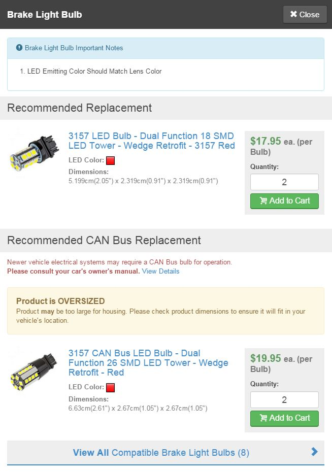 Vehicle LED Replacement Bulbs Bulb Results And Buy