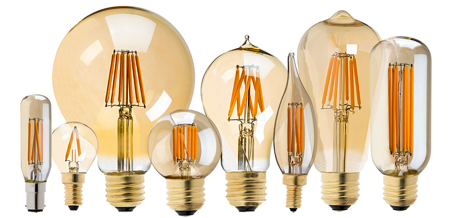 thanksgiving LED lights - gold tint LED filament bulbs