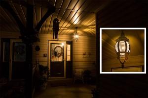 gold tint LED filament bulb in porch fixture