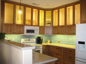 LED under-cabinet lighting in kitchen