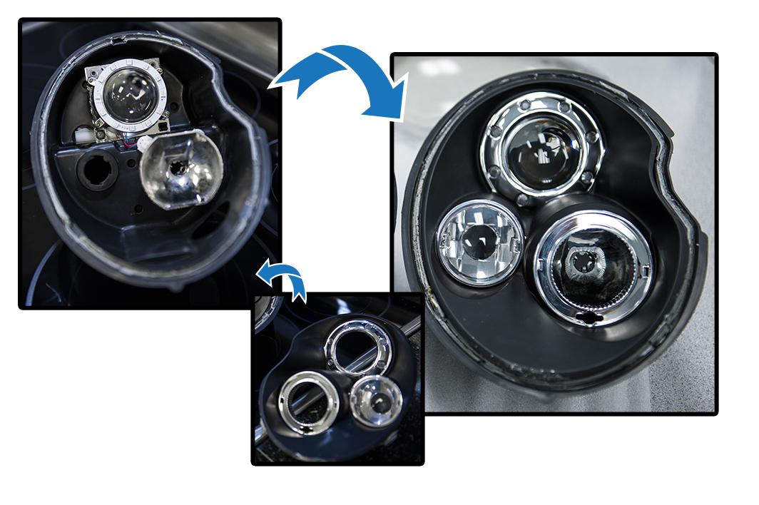 how to install halo headlights LED angel eye headlights - second layer