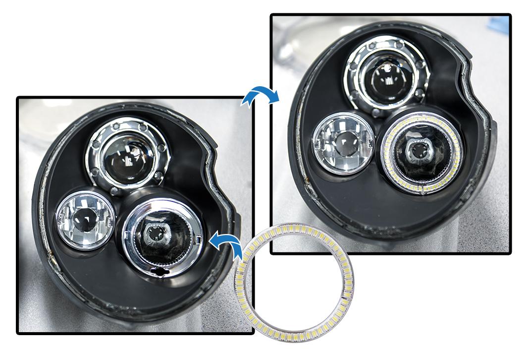 how to install halo headlights LED angel eye headlights - install white halo ring