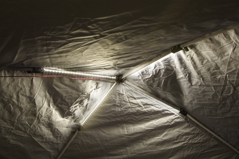 LED canopy tent lighting installation