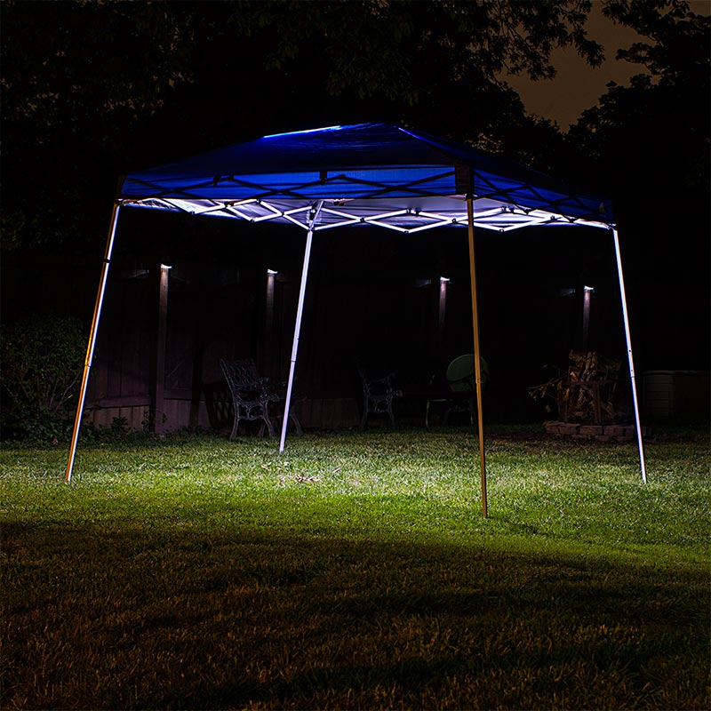 LED canopy tent lighting illuminated