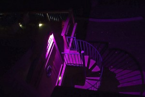 RGBW flood lights on stairs