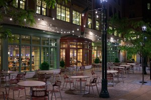 ... LED String Lights On Commercial Patio