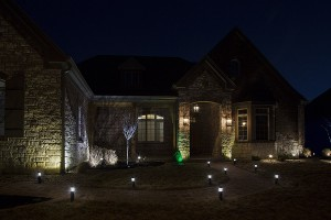 LED path lights in front of house