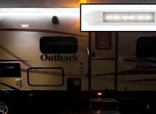 LED RV awning lights installed on RV side