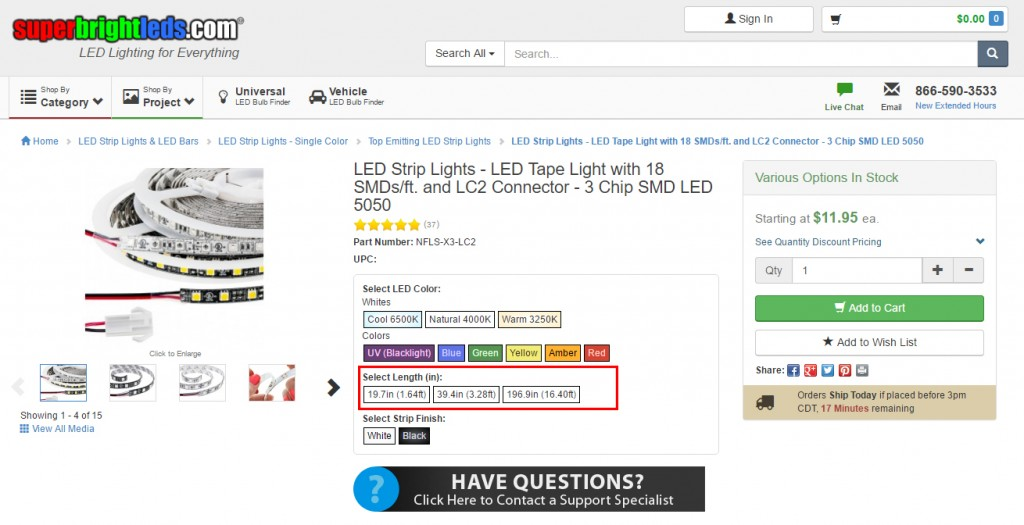 LED strip lighting - strip length