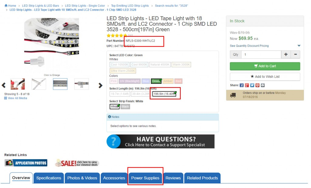 LED strip lighting size