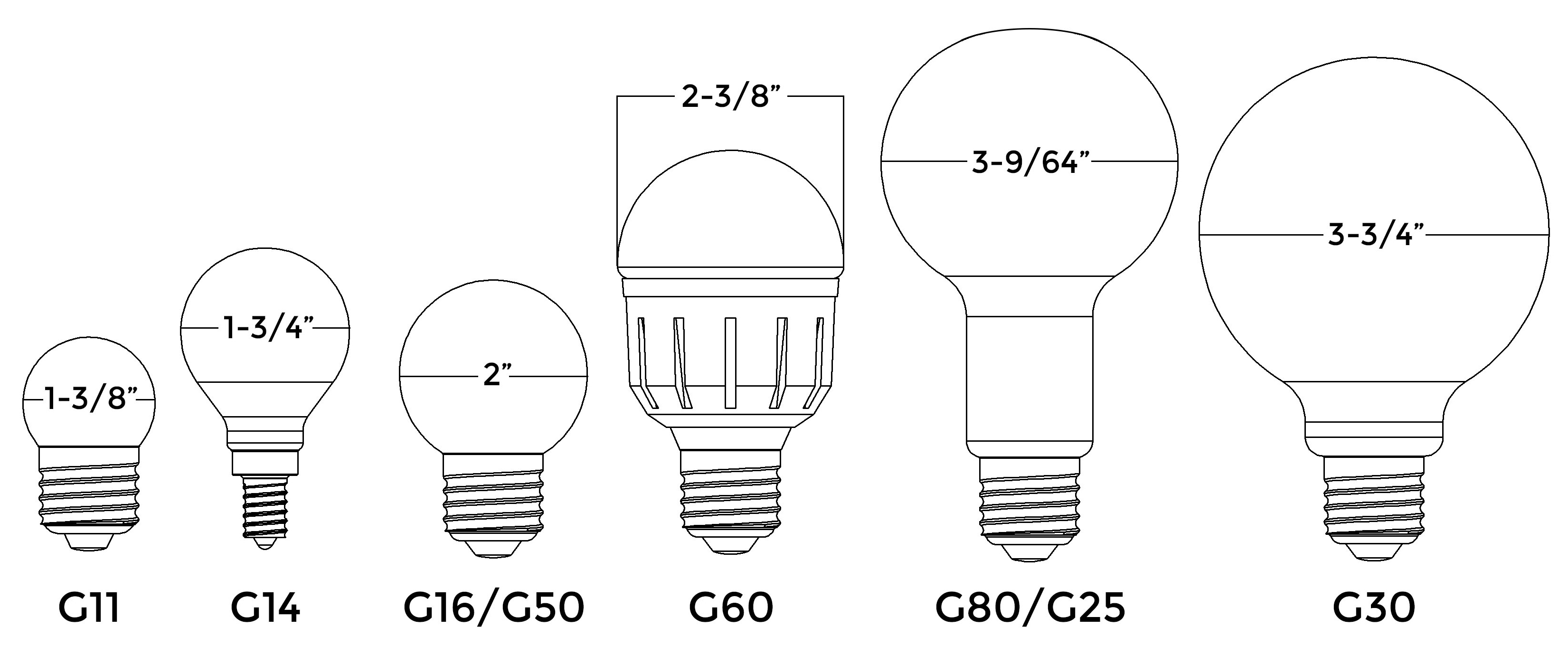 Home lighting 101 a guide to understanding light bulb shapes sizes g bulb drawings aloadofball Image collections