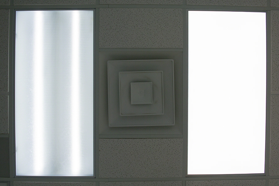 Fluorescent panel light (left) compared to an LED panel light (right)
