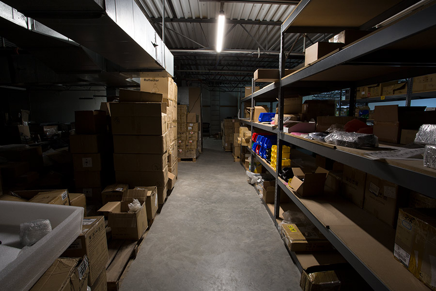 linkable linear LED lights in warehouse