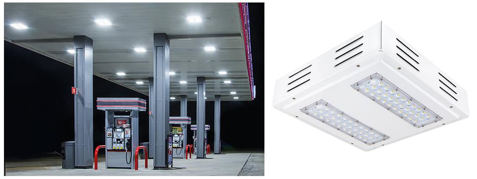 gas station canopy light close up