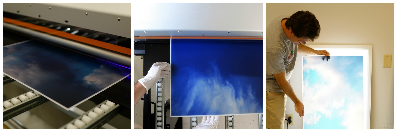 LED skylights - multi LED panel light display - printing