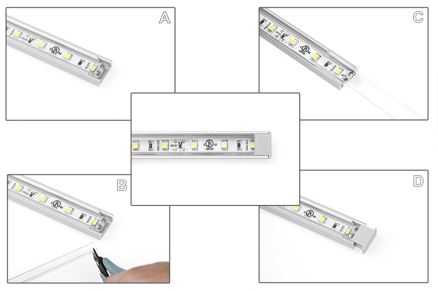 aluminum LED profiles lens install