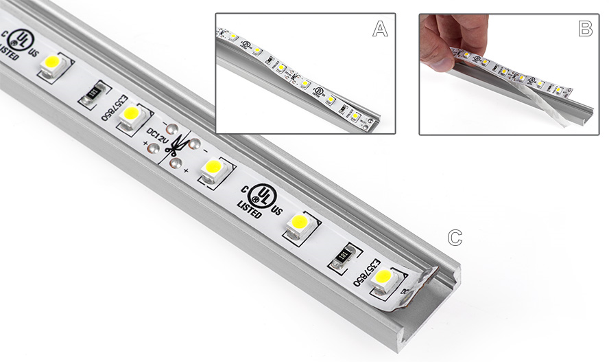 aluminum LED profiles strip install