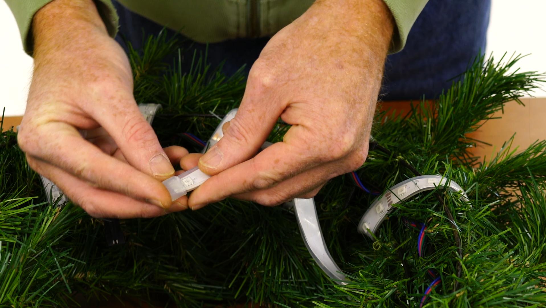 DIY Christmas wreath step 3 end cap
