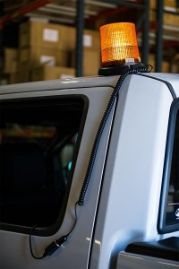 LED snow plow lights - magnetic beacon installed