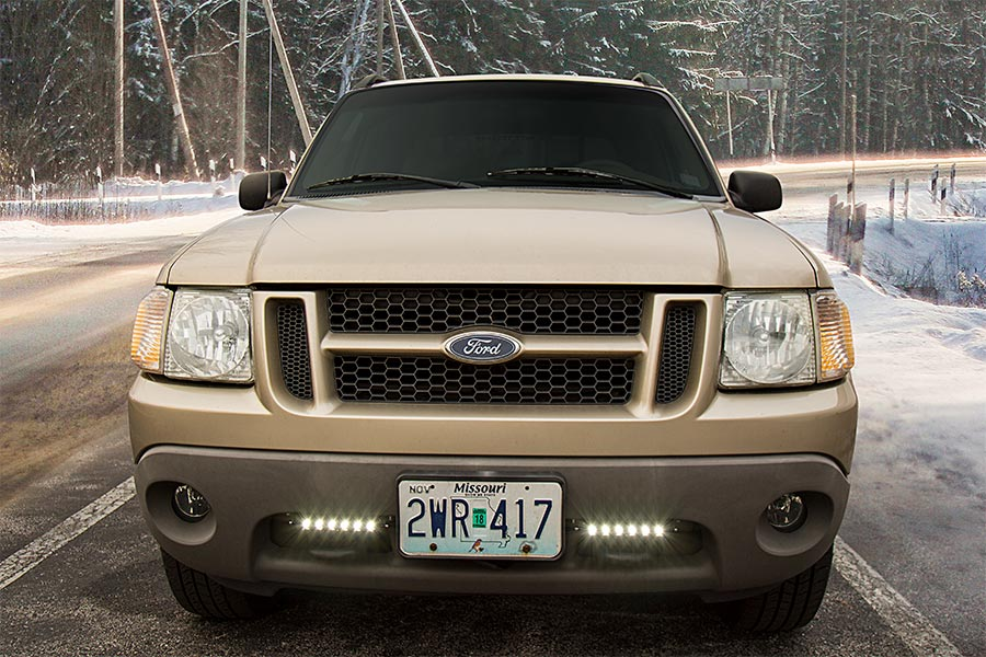 ford-truck-led-driving-daytime-running-lights-snowy-road