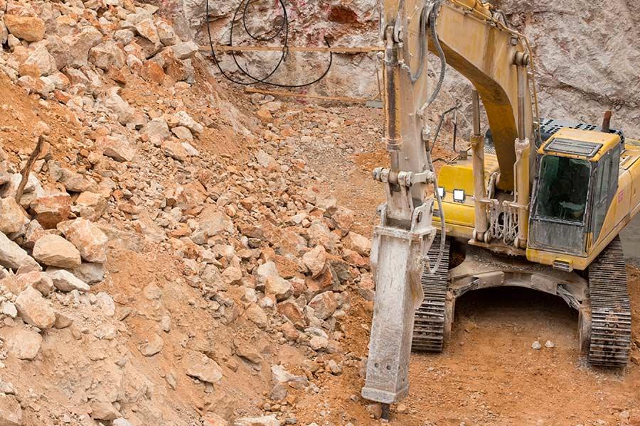heavy-duty LED work lights on excavator - 5.5 inch
