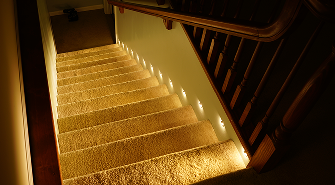 Nice Motion Sensor LED Stair Lights   Step Lighting Turned On