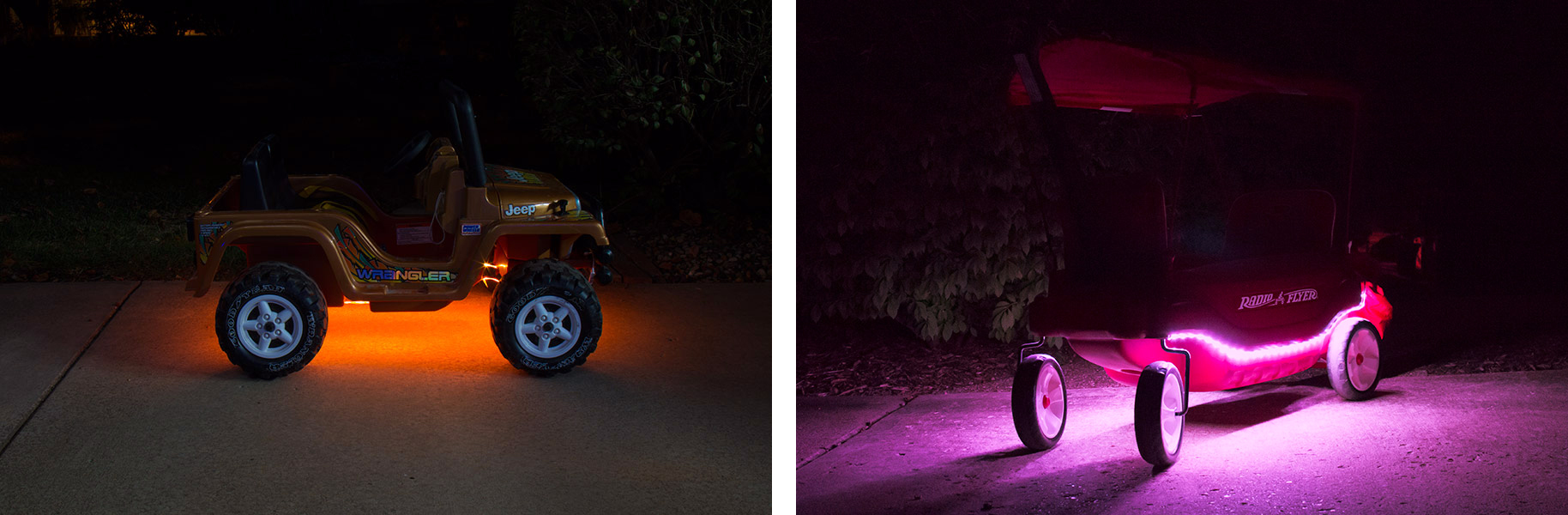 portable LED strip lights on power wheels and wagon