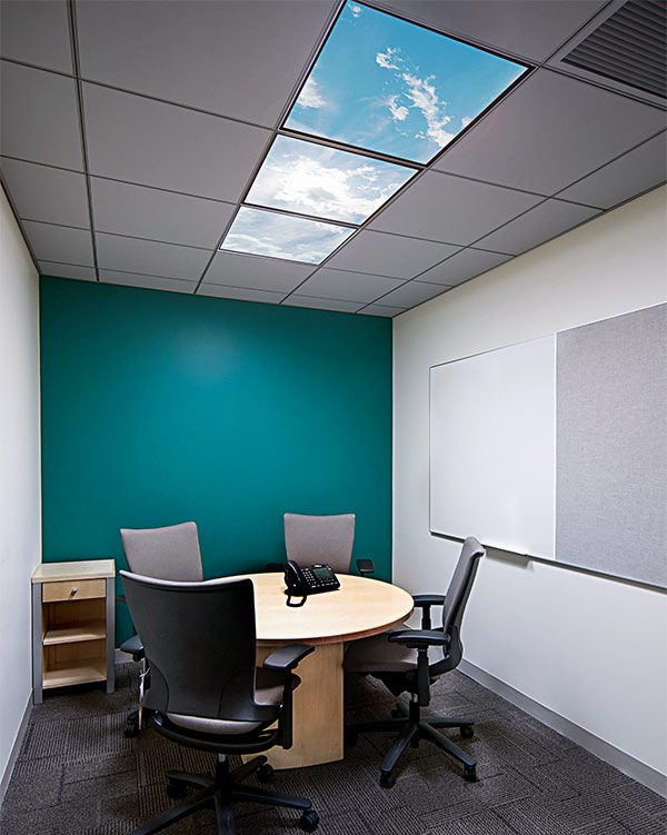 LED skylights - multi LED panel light display in conference room