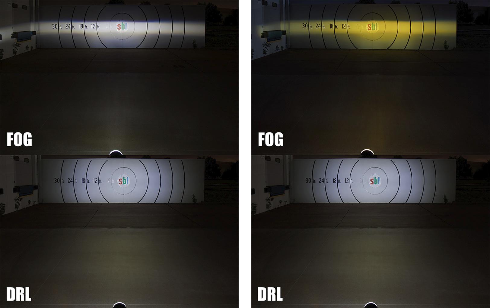 projector LED fog lights - beam comparison