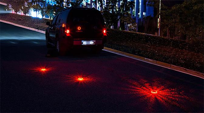 LED road flares - emergency lights on car