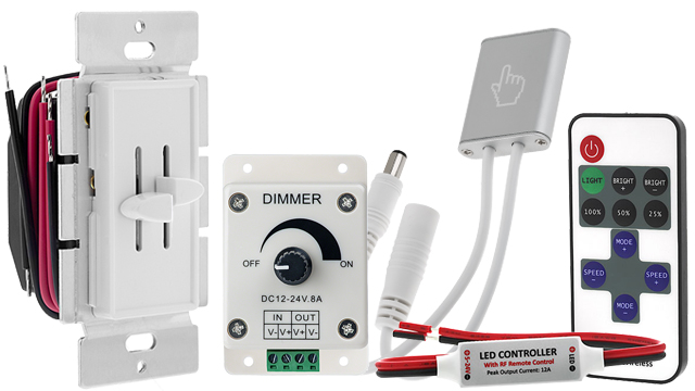 LED strip lights - single color dimmers and controllers