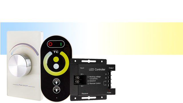 LED strip lights - tunable white controllers and dimmers