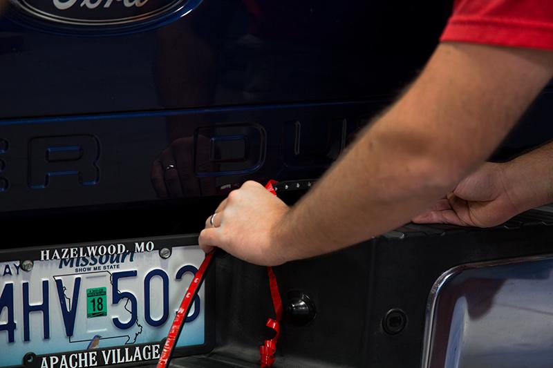 LED tailgate light bar adhesive backing