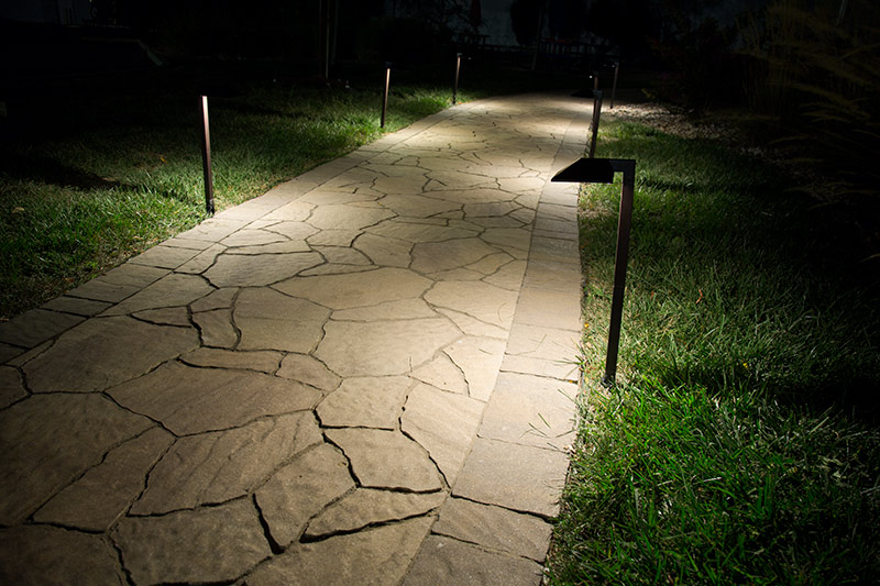 LED path lights - offset square on sidewalk