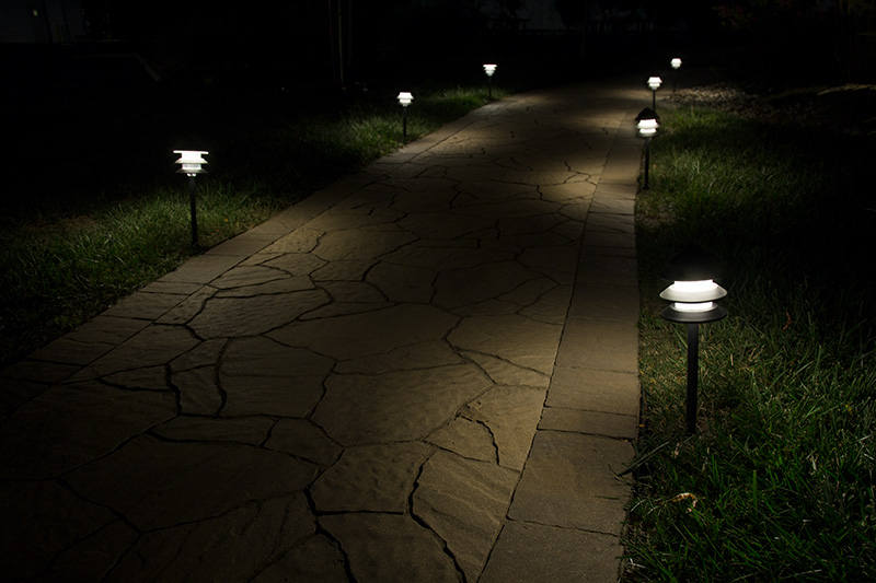 LED path lights - pagoda on sidewalk