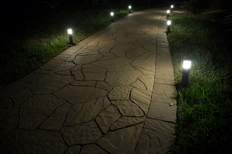 LED path lights - mini bollard on sidewalk