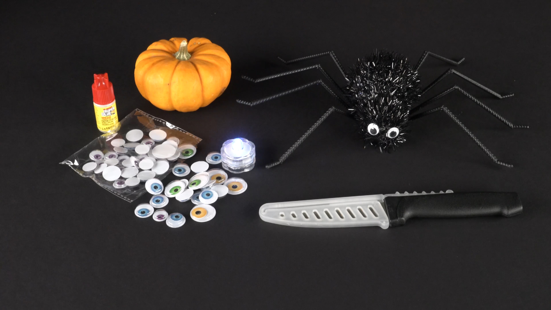 Halloween crafts with color-changing led tea lights - spider materials