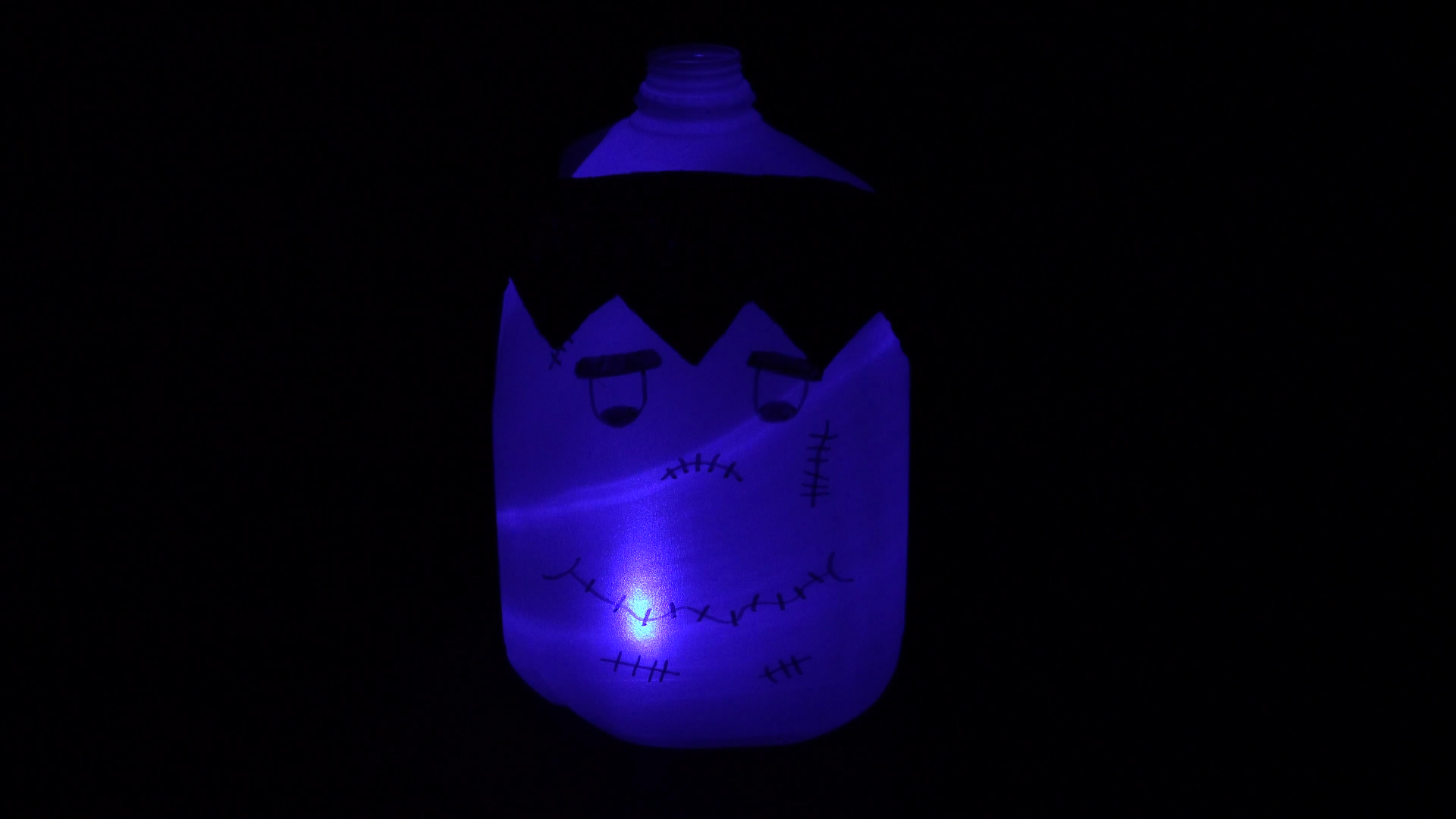 Halloween crafts with color-changing led tea lights - frankenstein