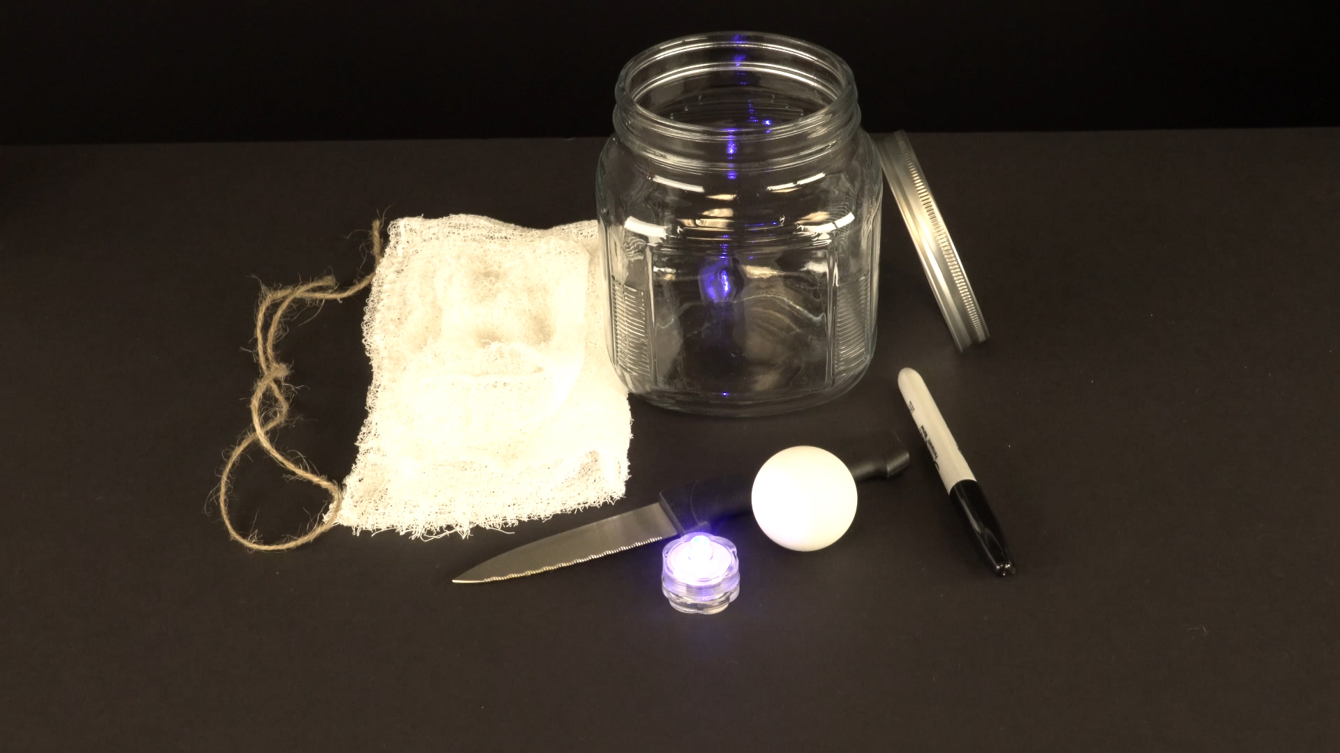 Halloween crafts with color-changing led tea lights - ghost materials