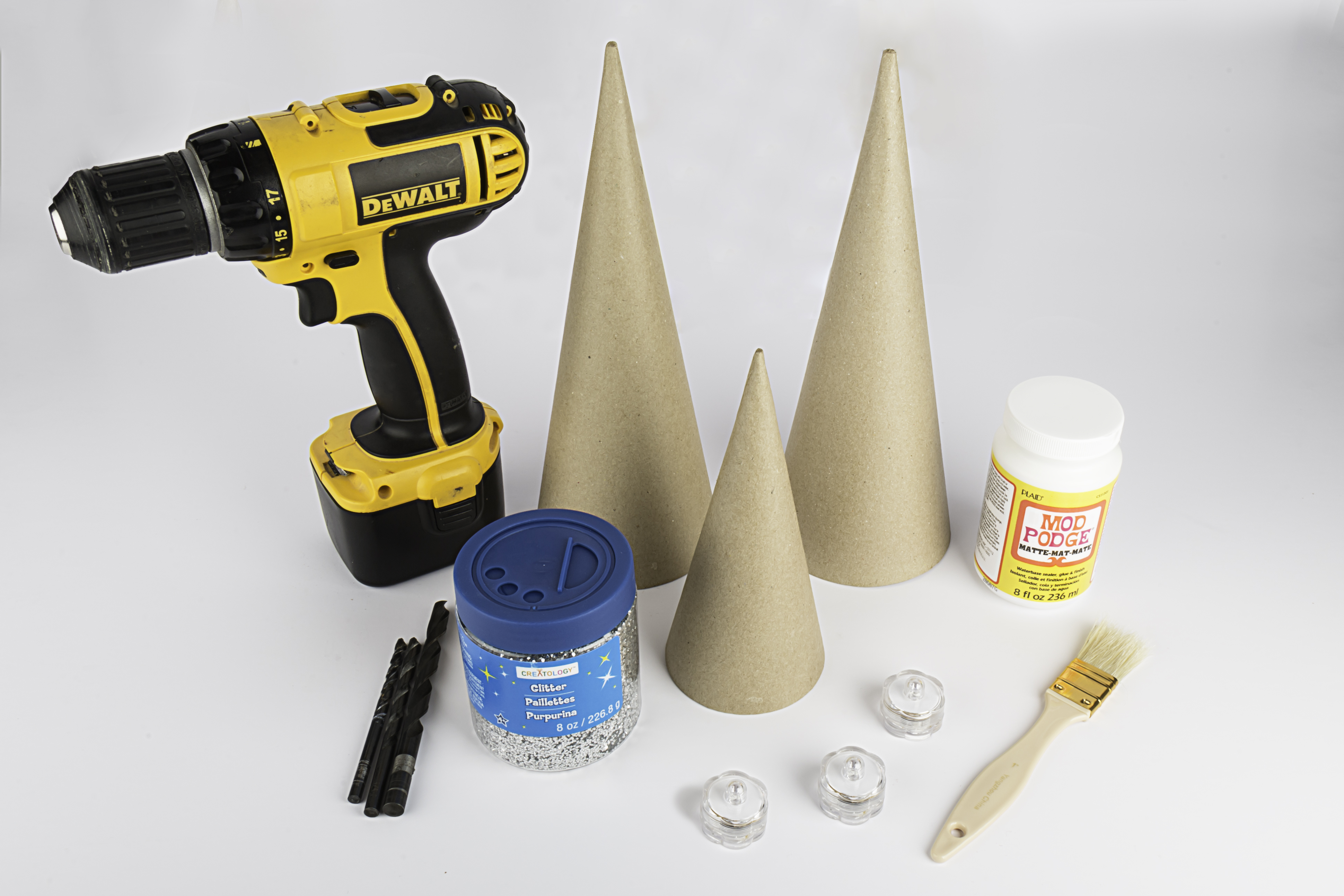 Christmas crafts materials - decorative LED christmas cones with LED tea lights