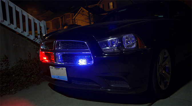 LED Hideaway Strobe Lights on police vehicle