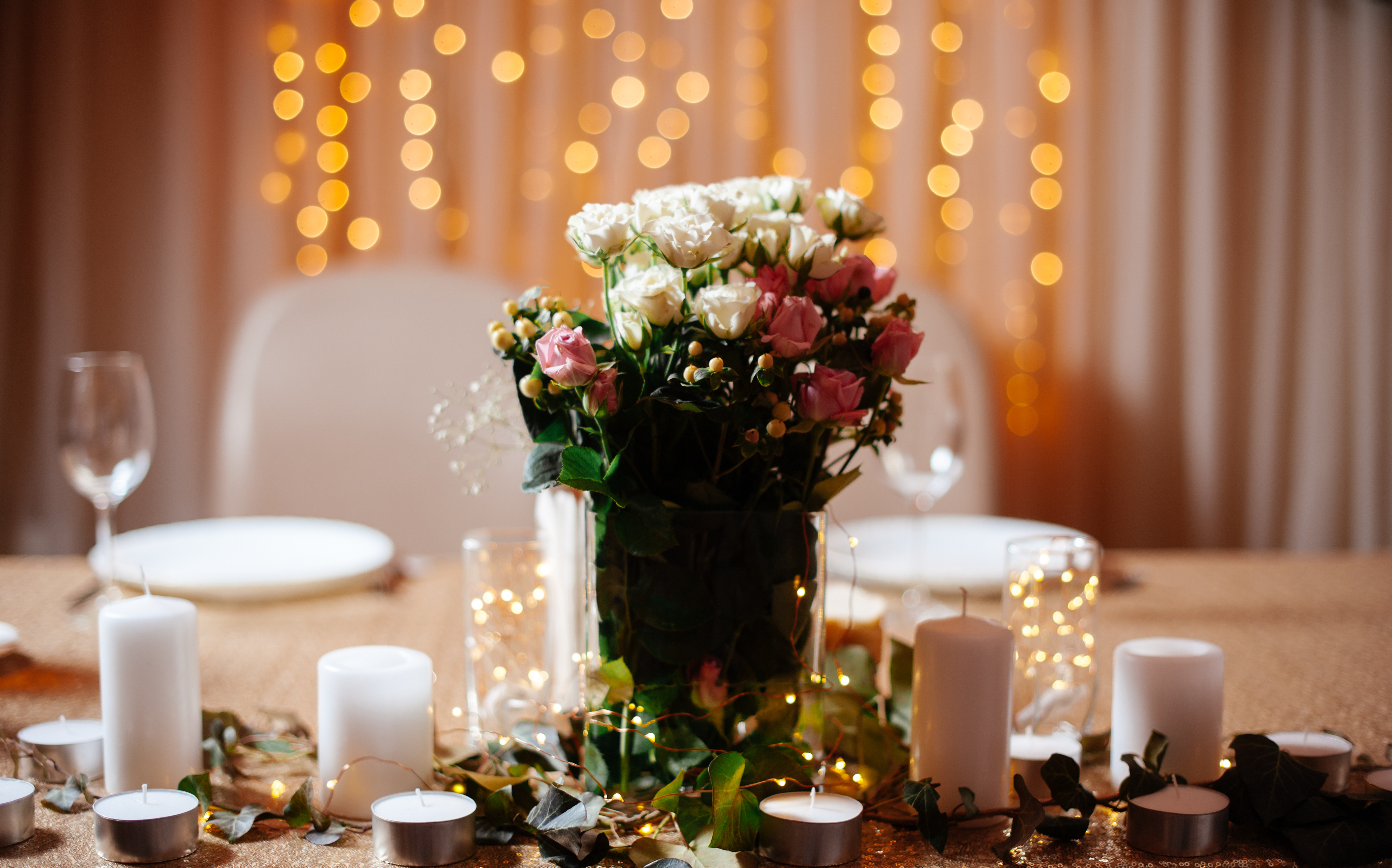 LED wedding lights - lighted centerpieces with LED fairy lights