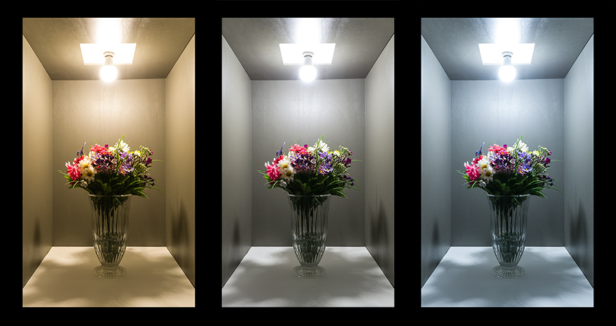 light bulb color temperature effect on colors
