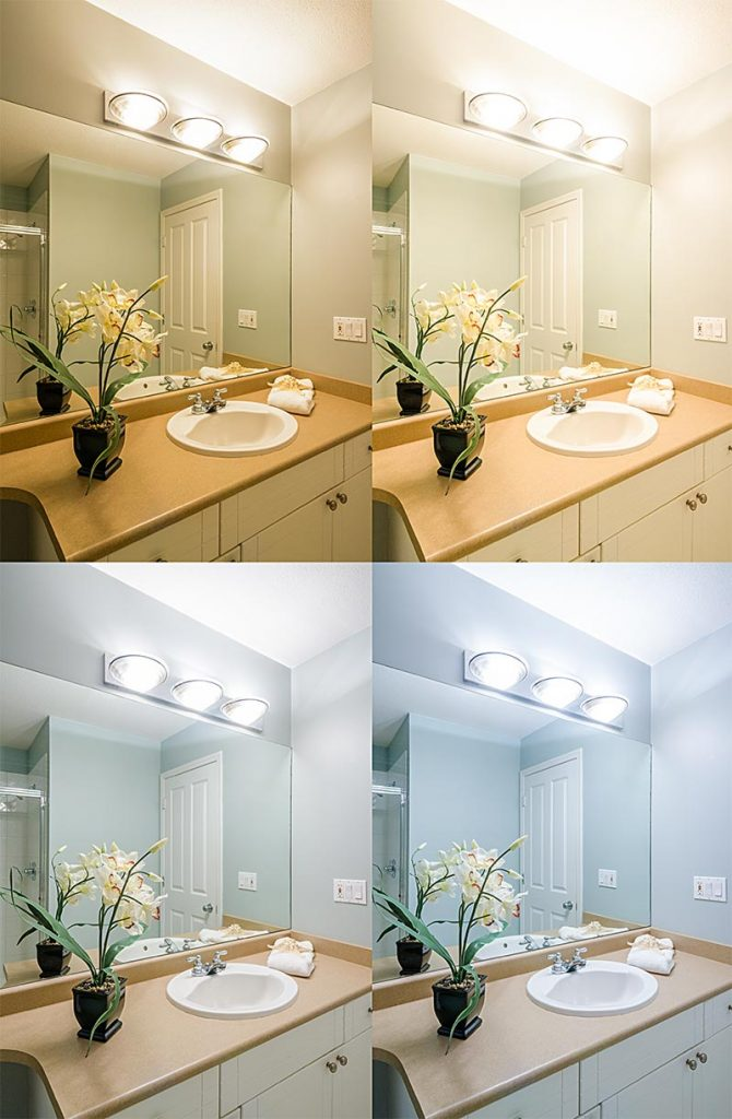 Light bulb color temperature in bathroom