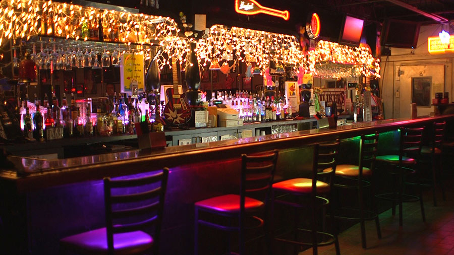 LED restaurant lighting - LED strip lights under bar
