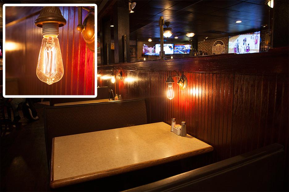 LED restaurant lighting - LED bulb at table