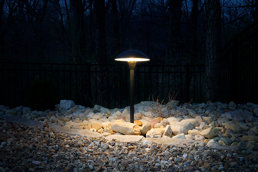 outdoor LED landscape lighting ideas - led path lights with mushroom shade