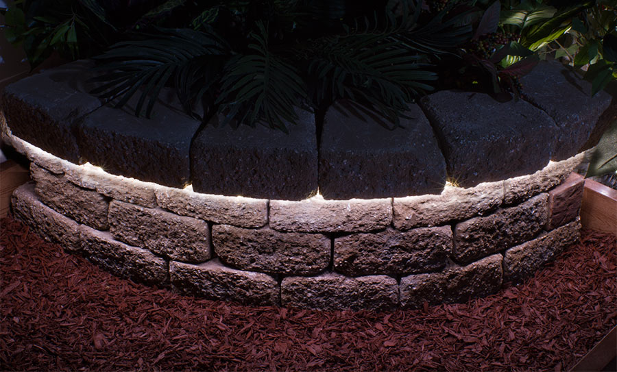 outdoor LED landscape lighting ideas - led hardscape lights in stones